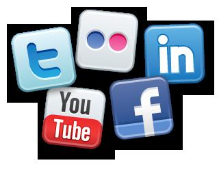 Réseaux sociaux en vogue : Facebook, Twitter, YouTube, LinkedIn et Flickr.